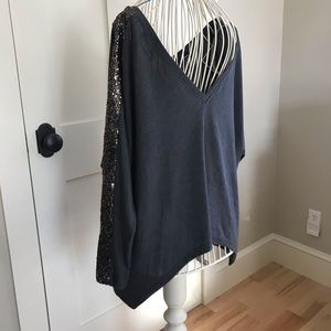 Grey long sleeve sweater with silver sparkles